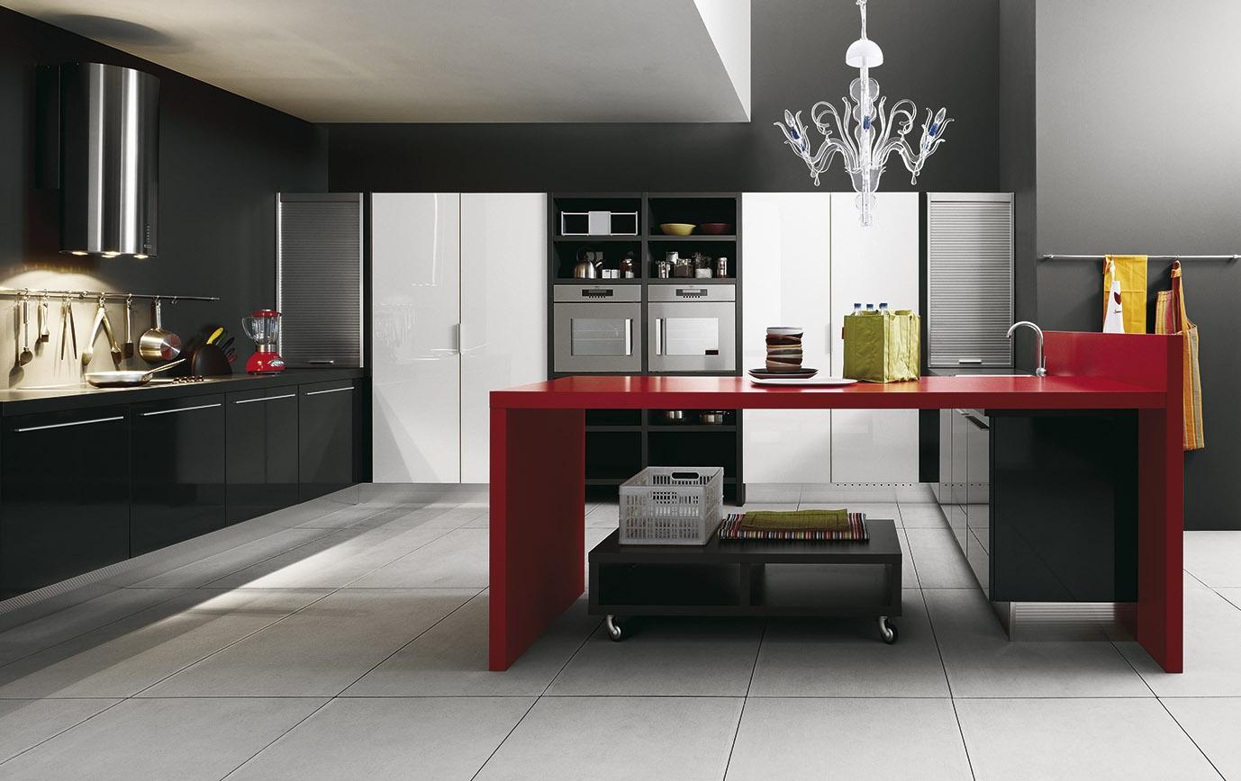 Красный остров в черно-белой кухне