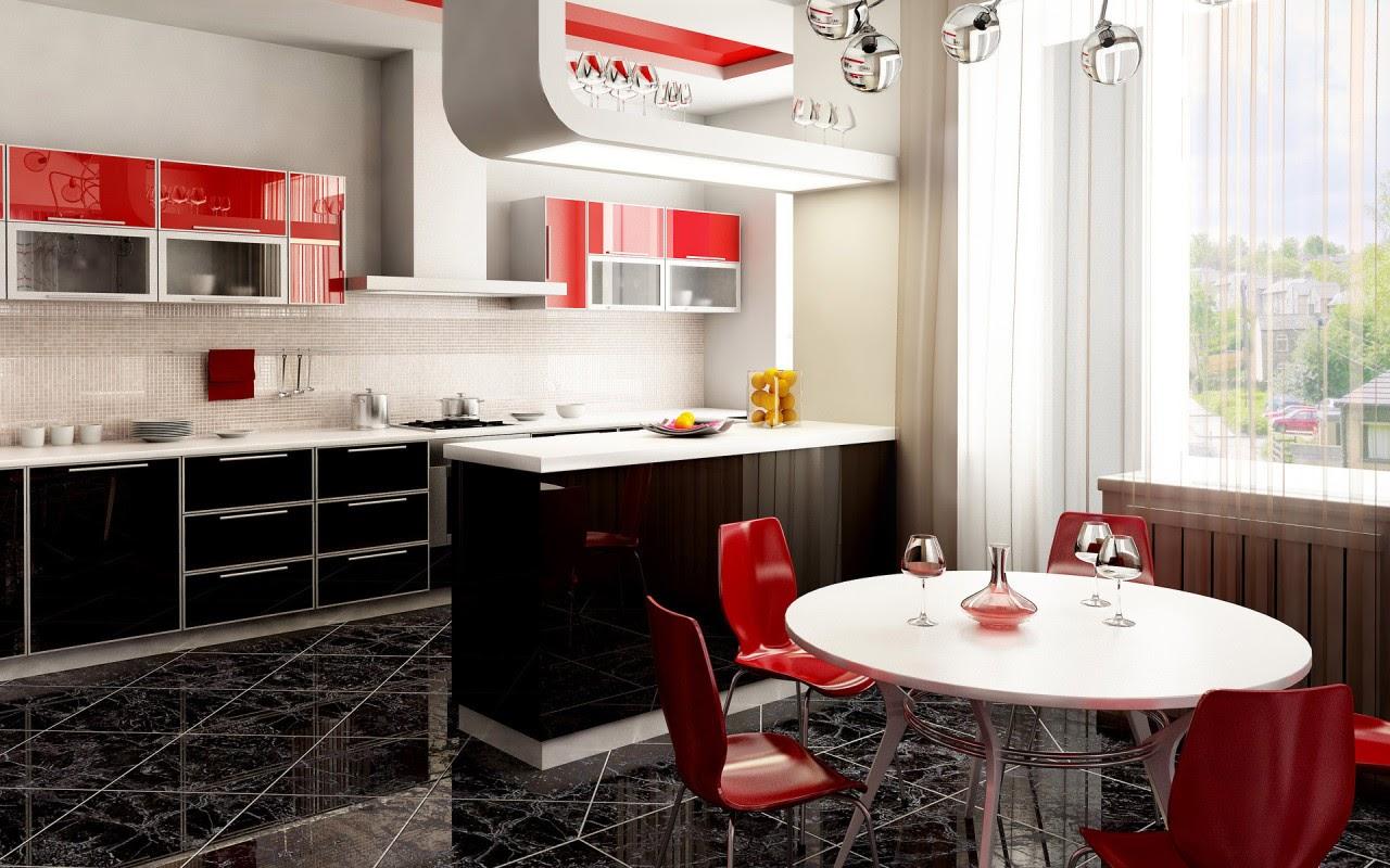Красные элементы в интерьере кухни