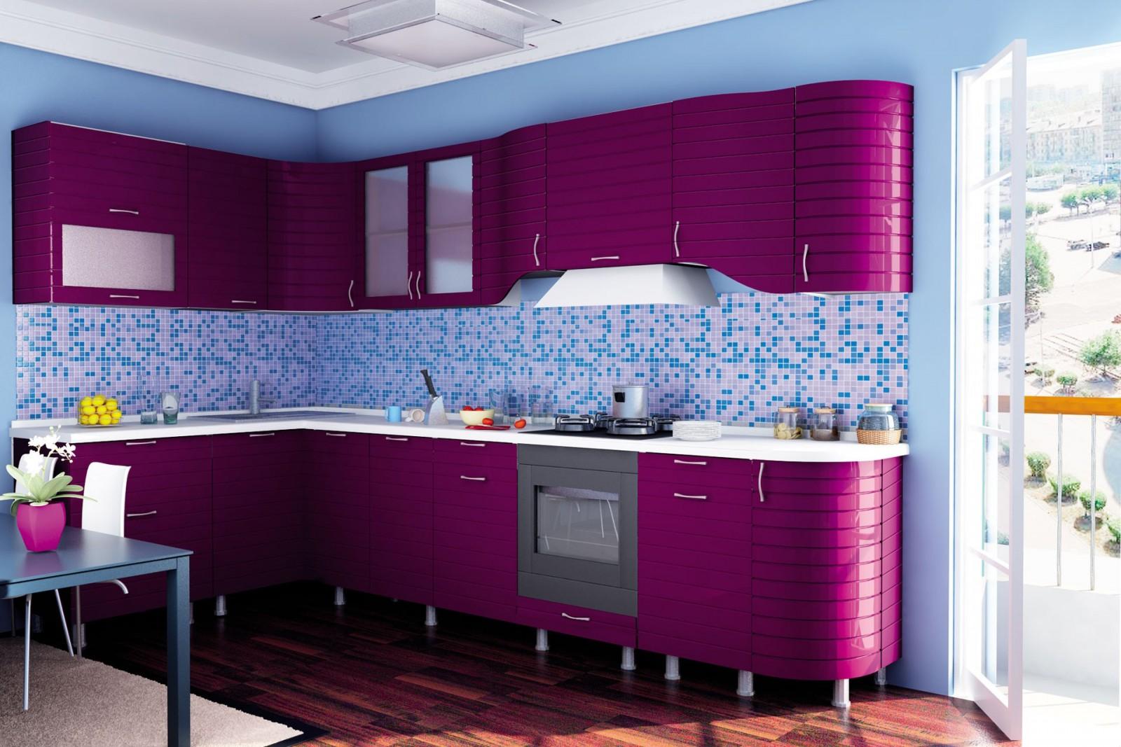 Сиренево-голубая кухня