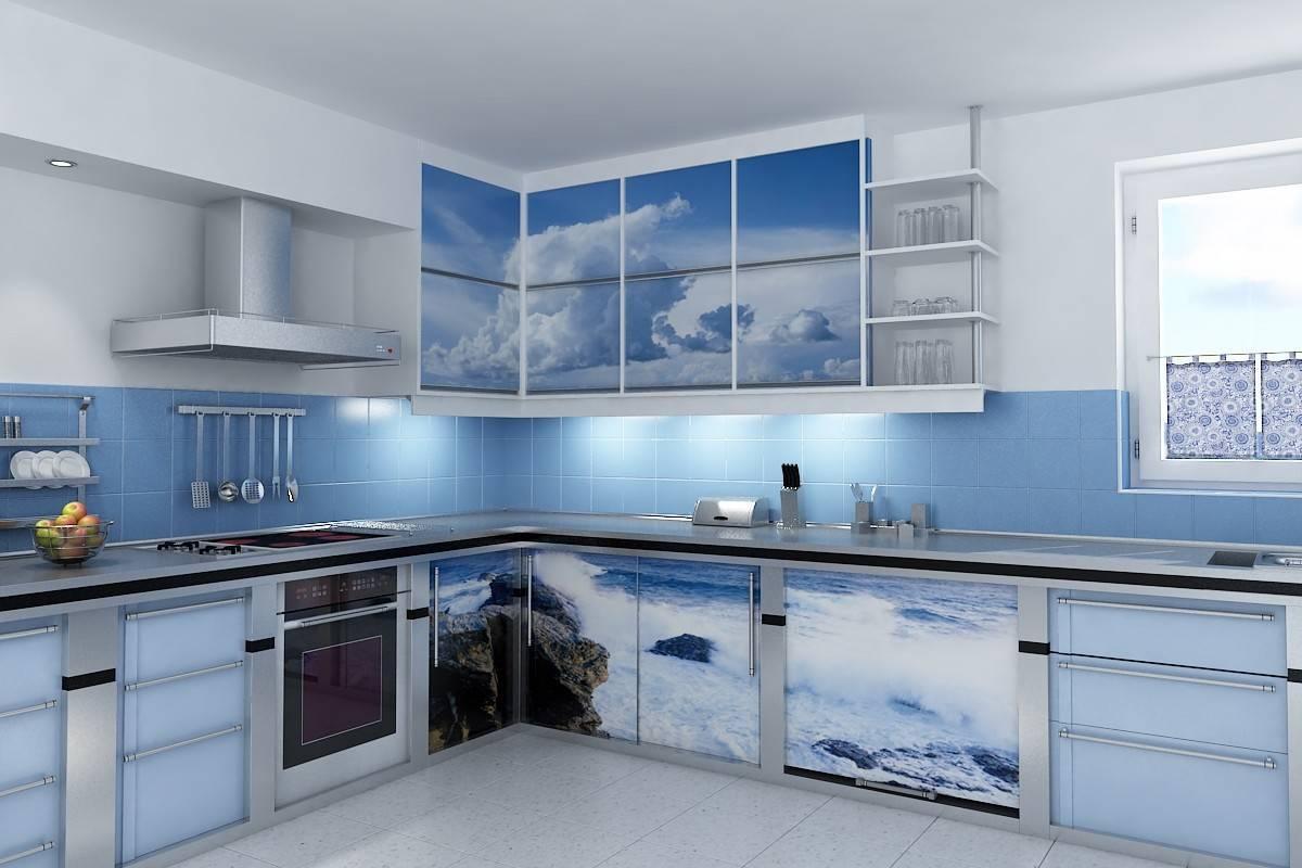 Бело-голубой угловой кухонный гарнитур