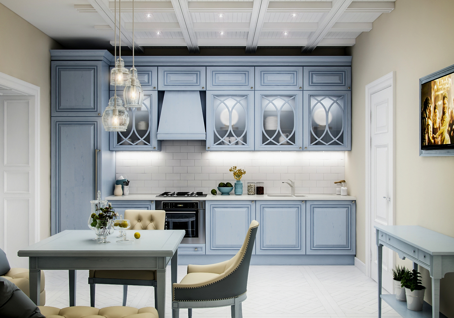 Пастельный голубой и белый цвета в интерьере кухни