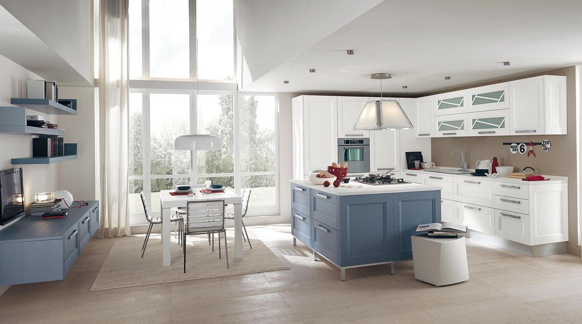 Бело-голубая кухня-столовая