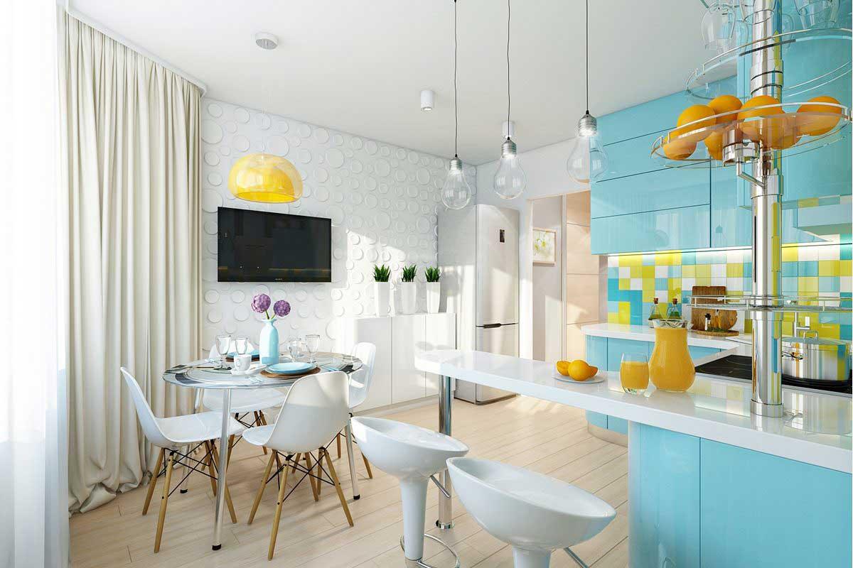 Бело-голубая уютная кухня