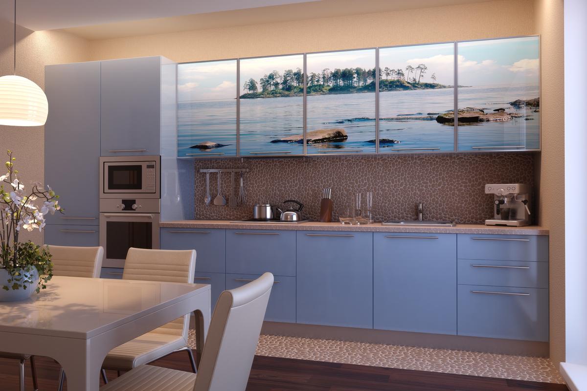 Уютная бежево-голубая кухня