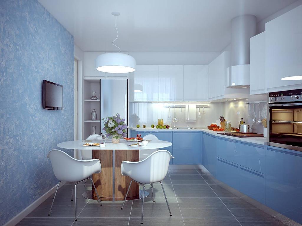 Красивая бело-голубая угловая кухня