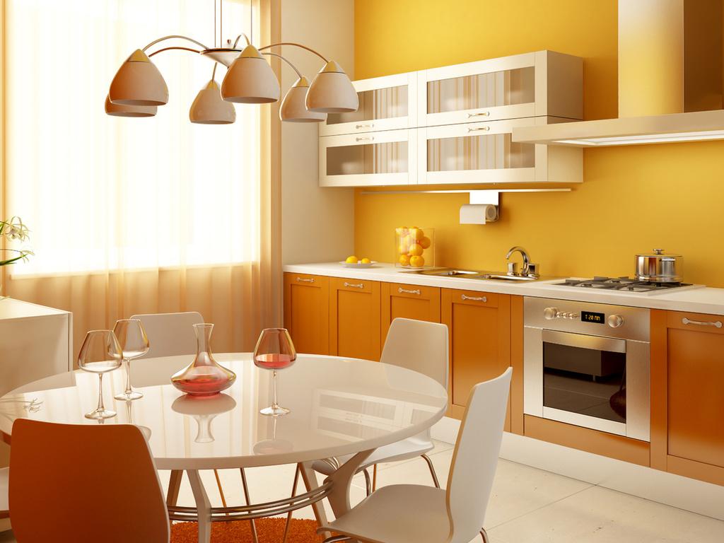 Оранжевый, желтый и белый цвета в интерьере кухни