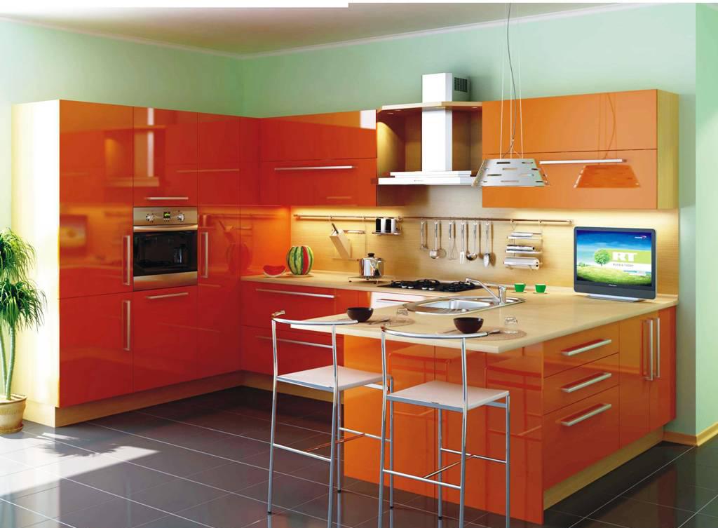 Глянцевый оранжевый п-образный кухонный гарнитур