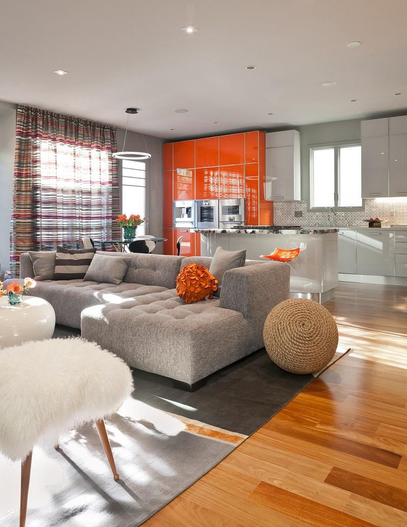 Оранжевый глянцевый кухонный гарнитур
