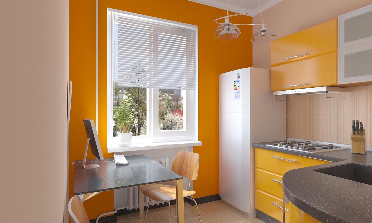 Оранжевая стена и фасады на кухне