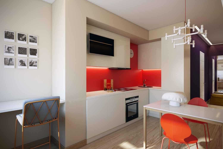 Оранжевые акценты на белой кухне