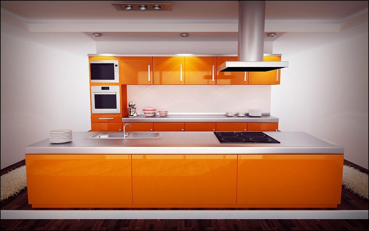 Оранжевый кухонный гарнитур на кухне с островом