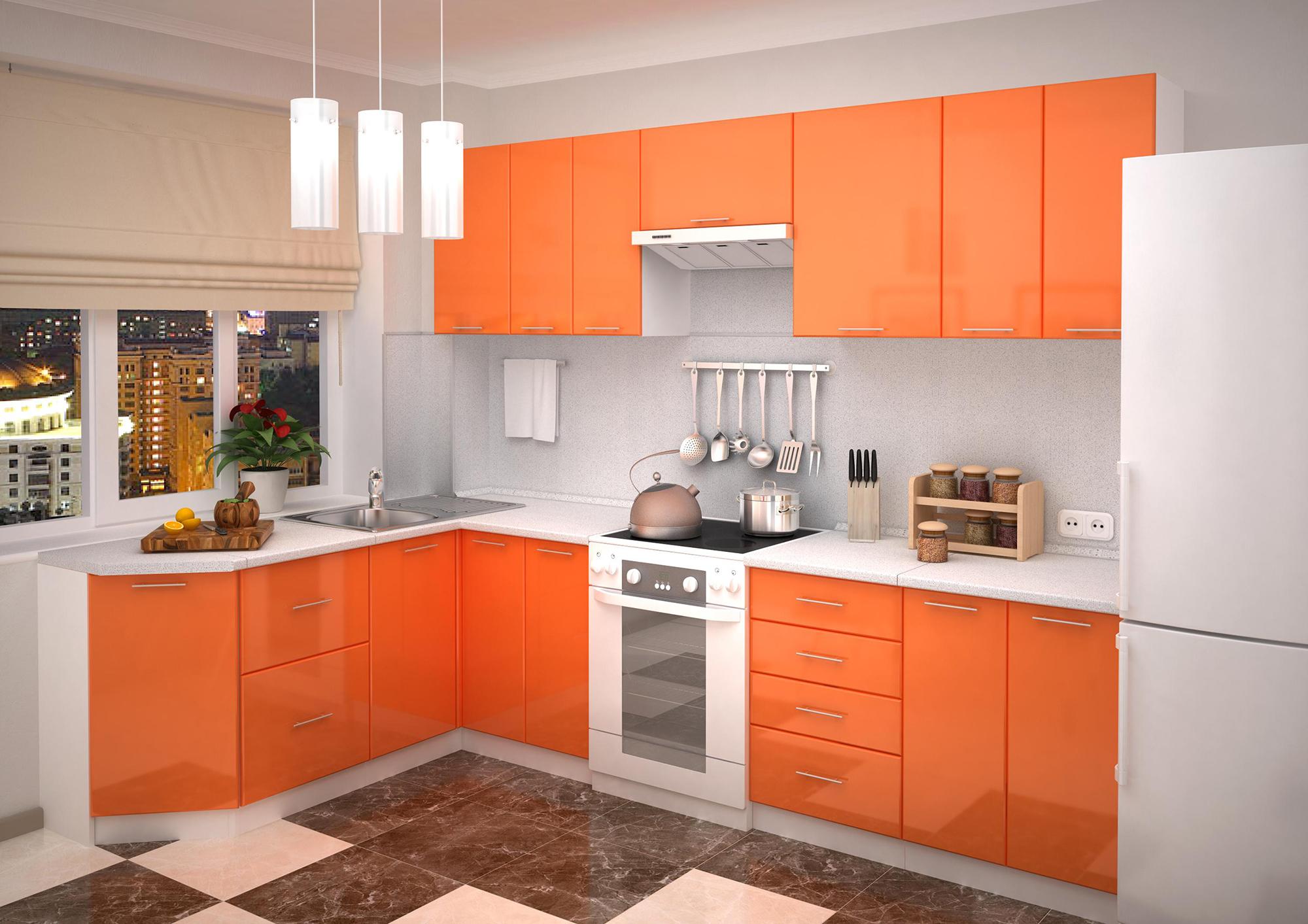 Угловой бело-оранжевый кухонный гарнитур