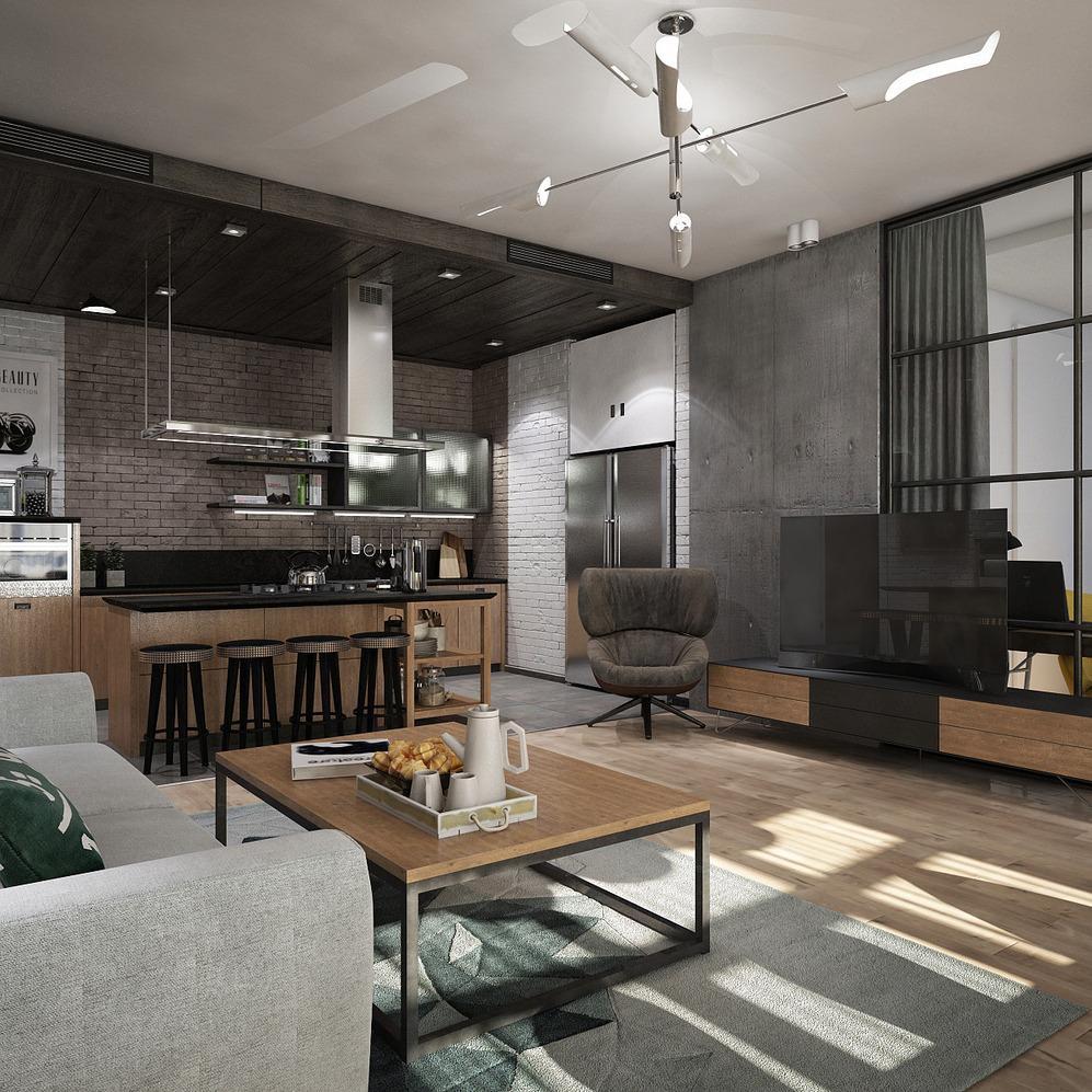 Гостиная-кухня с островом в стиле лофт