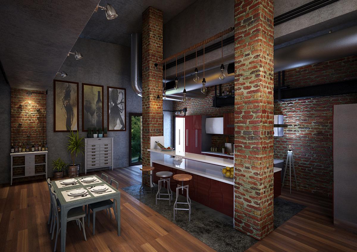 Бордово-белый кухонный гарнитур в стиле лофт