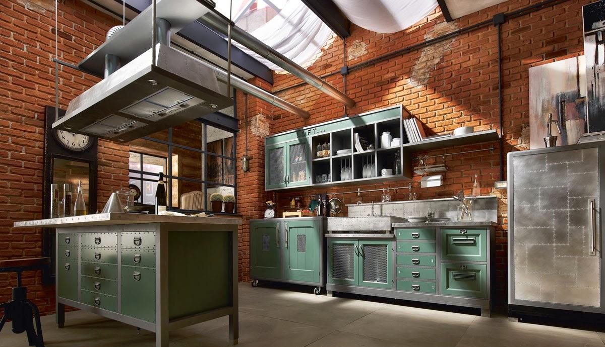 Серо-зеленый кухонный гарнитур в стиле лофт