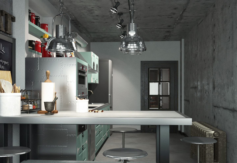 Кухня в мятно-серых тонах в стиле лофт