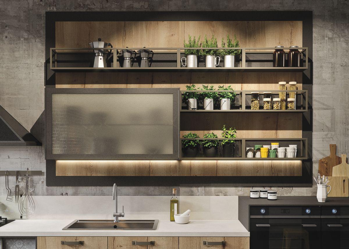 Оформление кухни в стиле лофт растениями