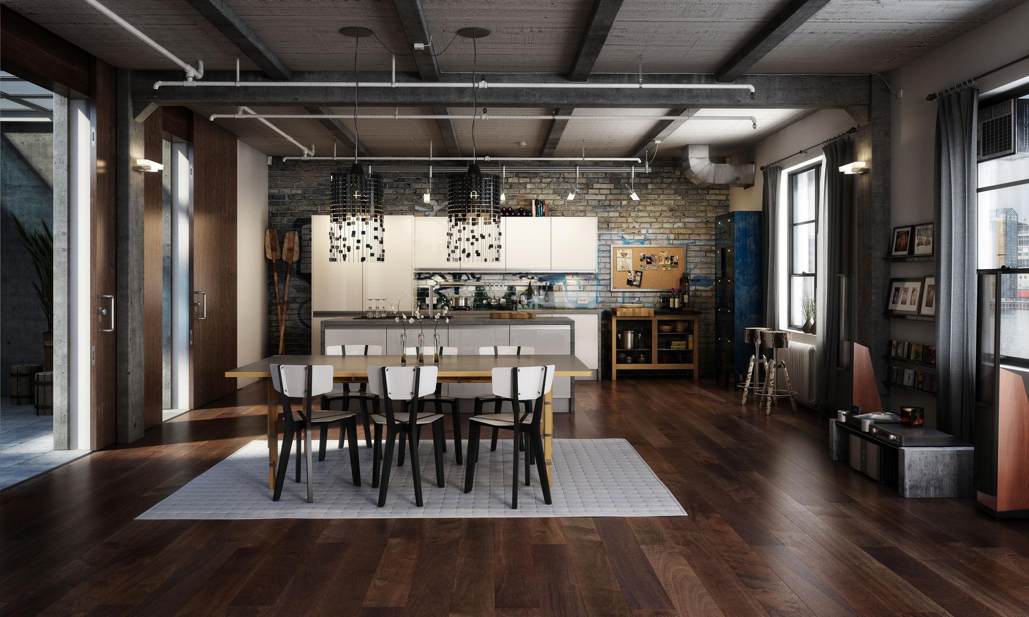 Темно-серые шторы на кухне в стиле лофт