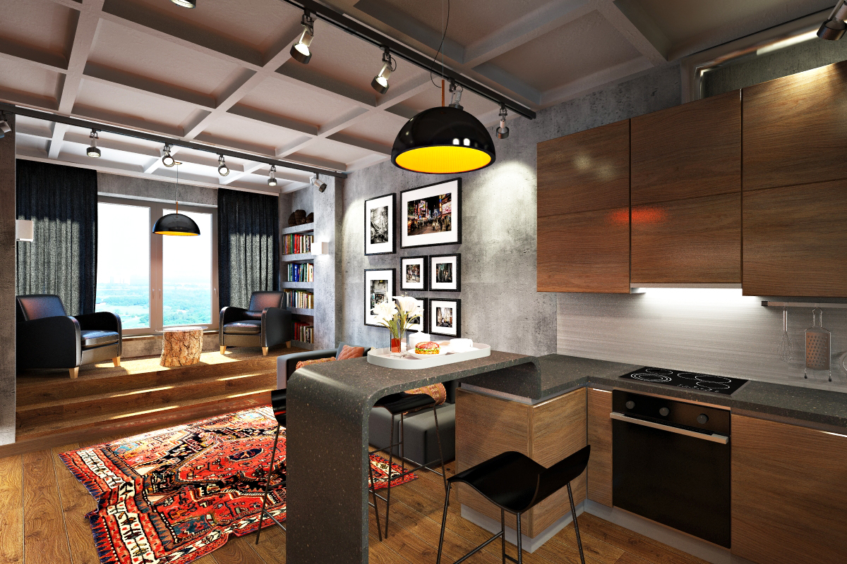 Кухня в квартире-студии в стиле лофт