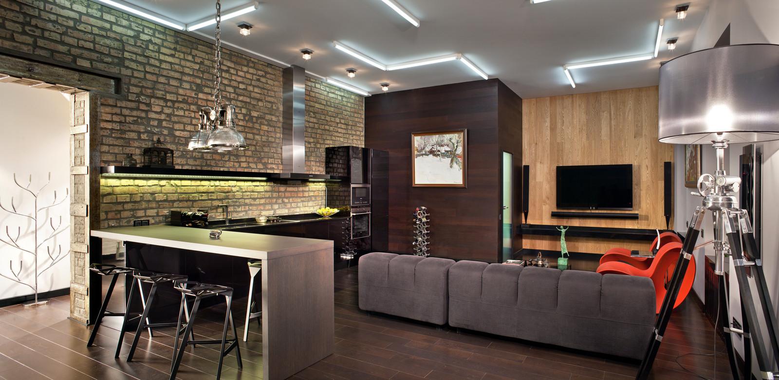 Контрастная мебель в стиле лофт