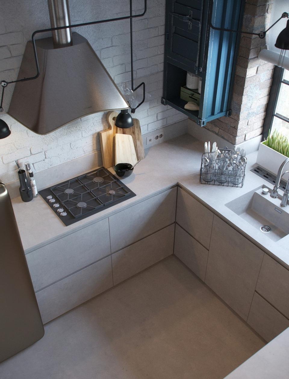 Маленький серый кухонный гарнитур