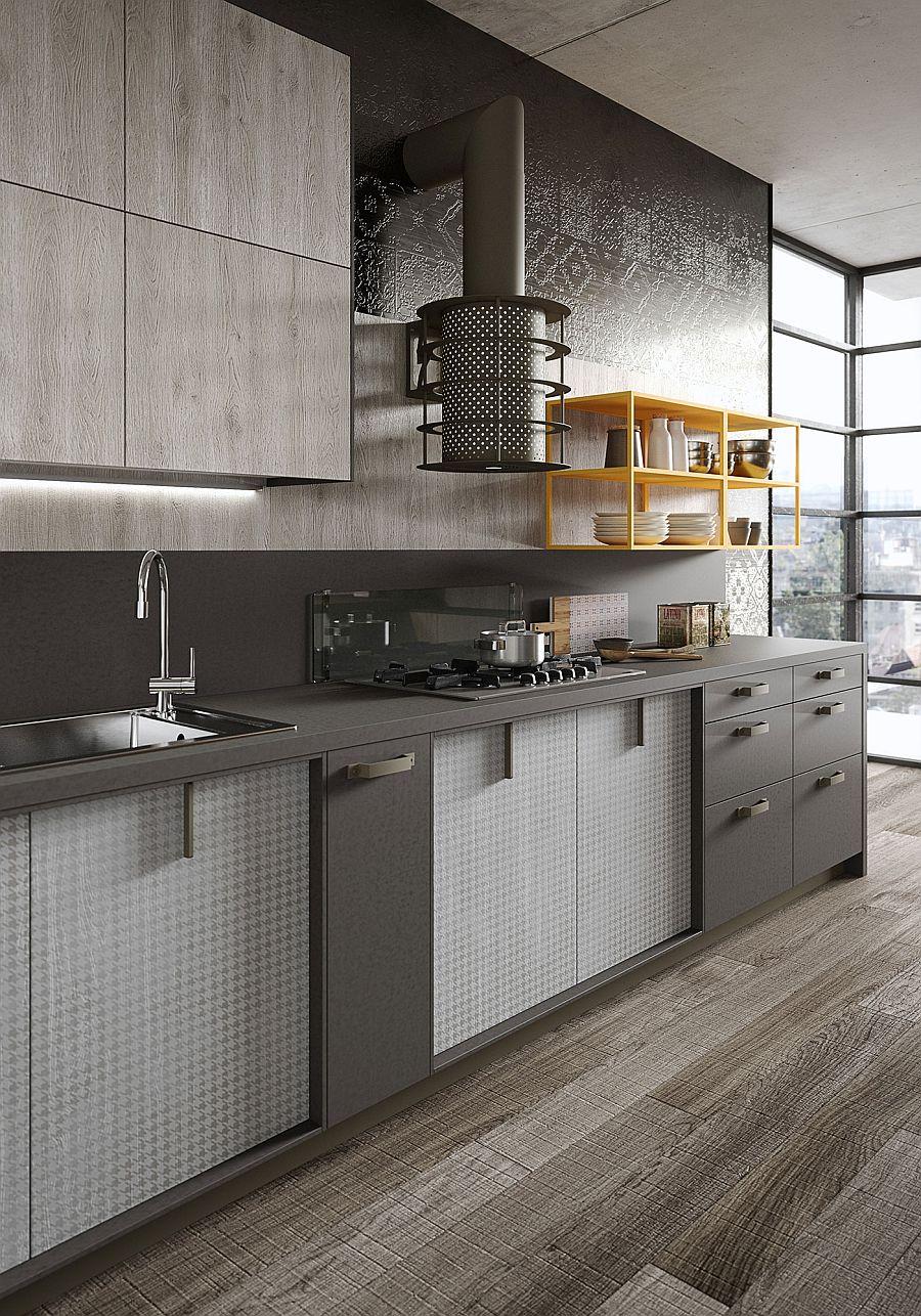 Черно-серые стены на кухне в стиле лофт