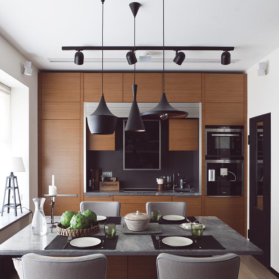 Белые стены и потолок на кухне в стиле лофт