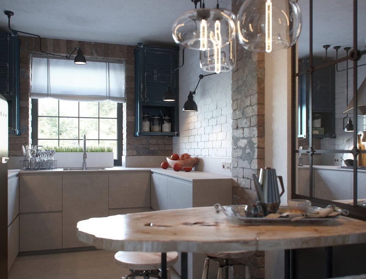 Белые рулонные шторы на кухне в стиле лофт