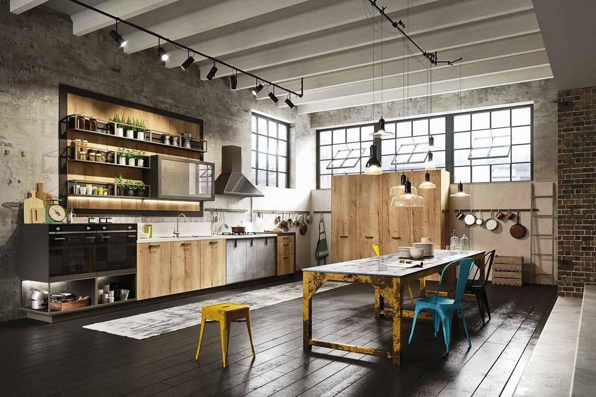 Кухня с металлическим обеденным столом в стиле лофт