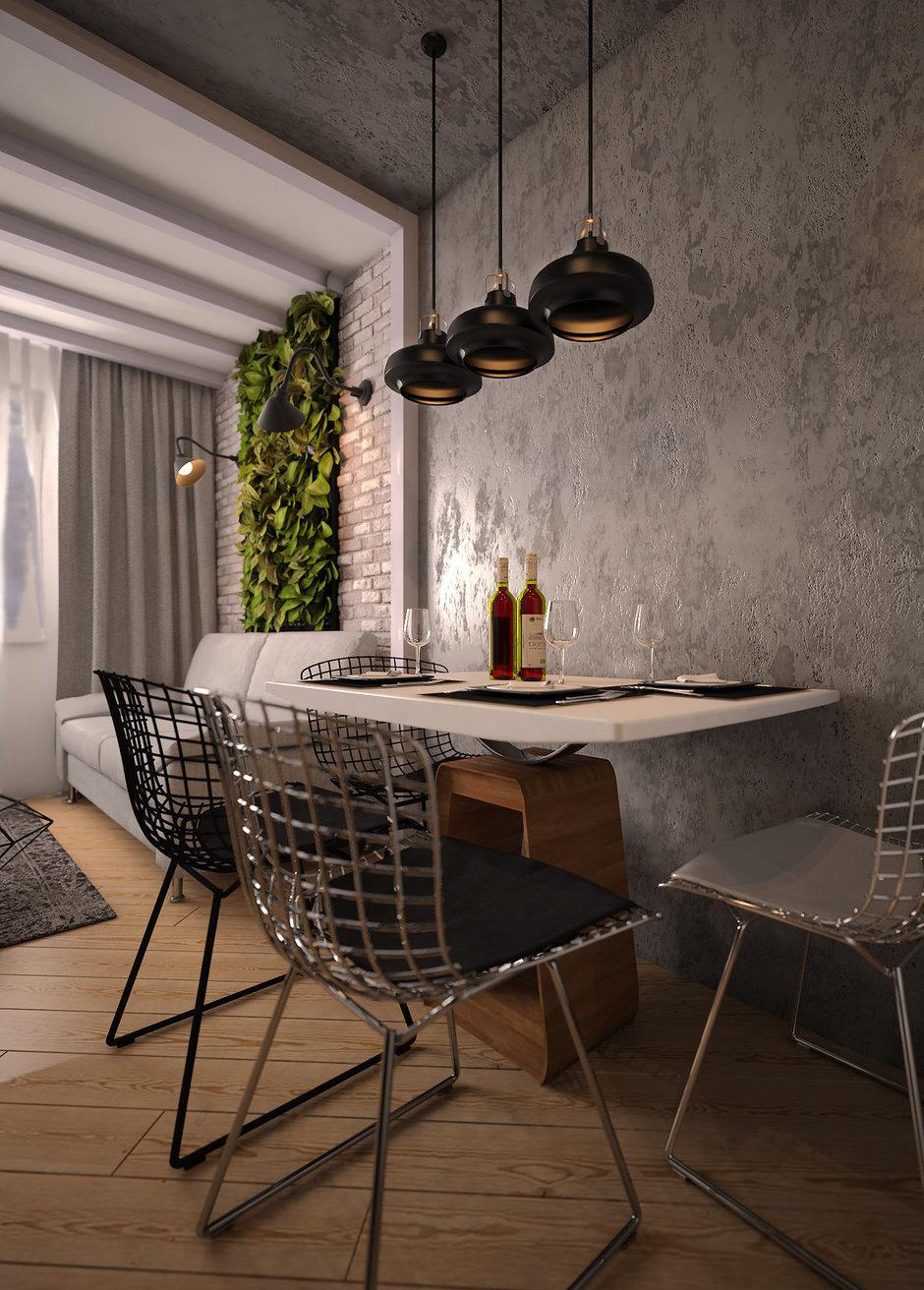 Кухня в стиле лофт в квартире-студии
