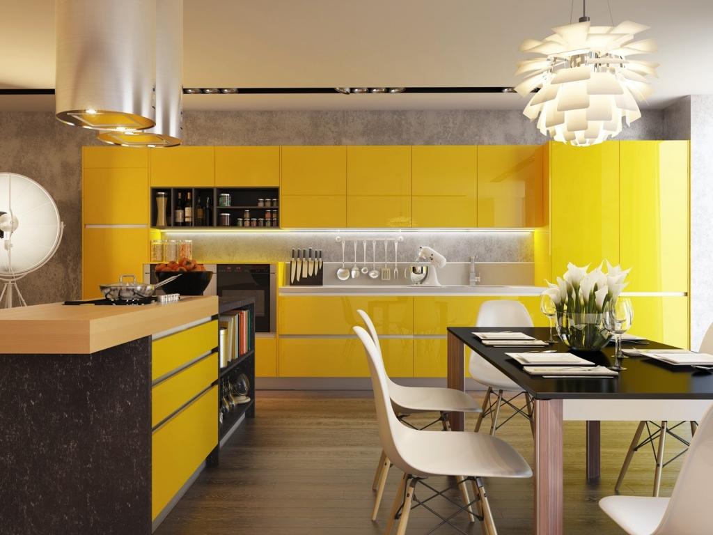 Желтая кухня (50 фото): яркие и классические сочетания цветов в интерьере