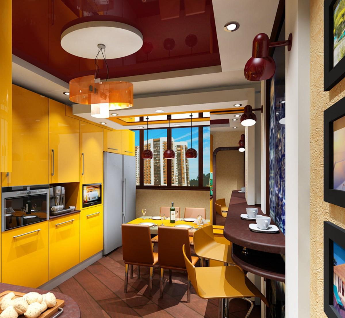 Желтый, коричневый и бежевый цвета в интерьере кухни