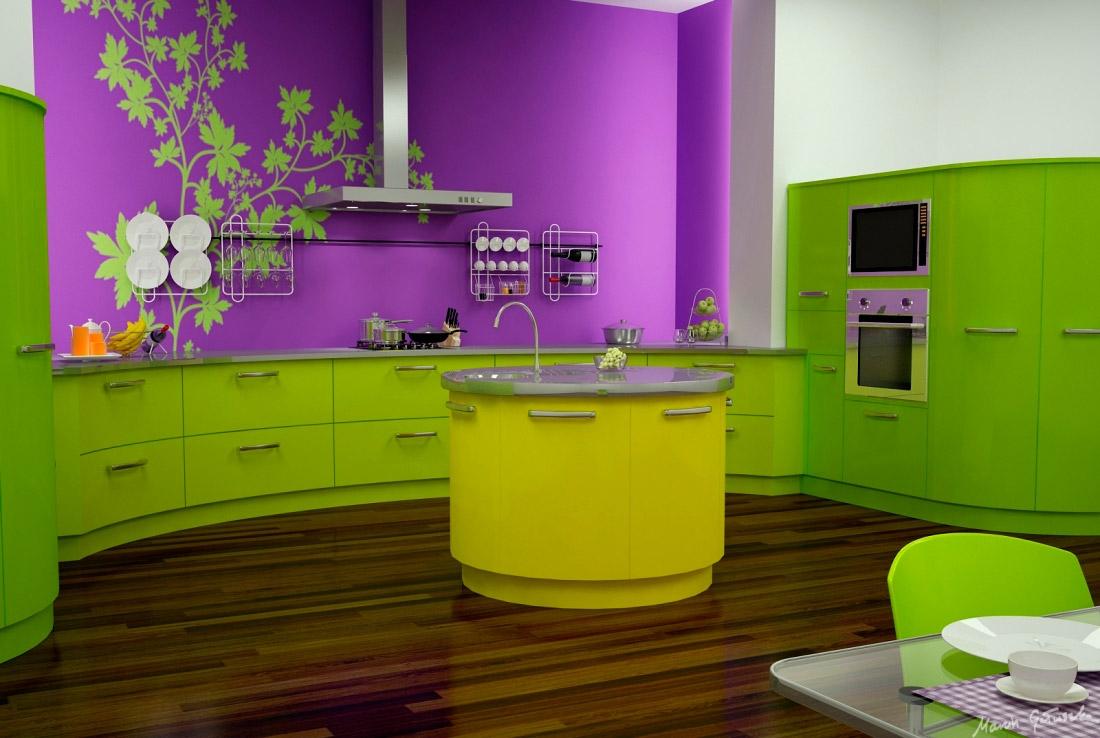 Круглый желтый остров на кухне
