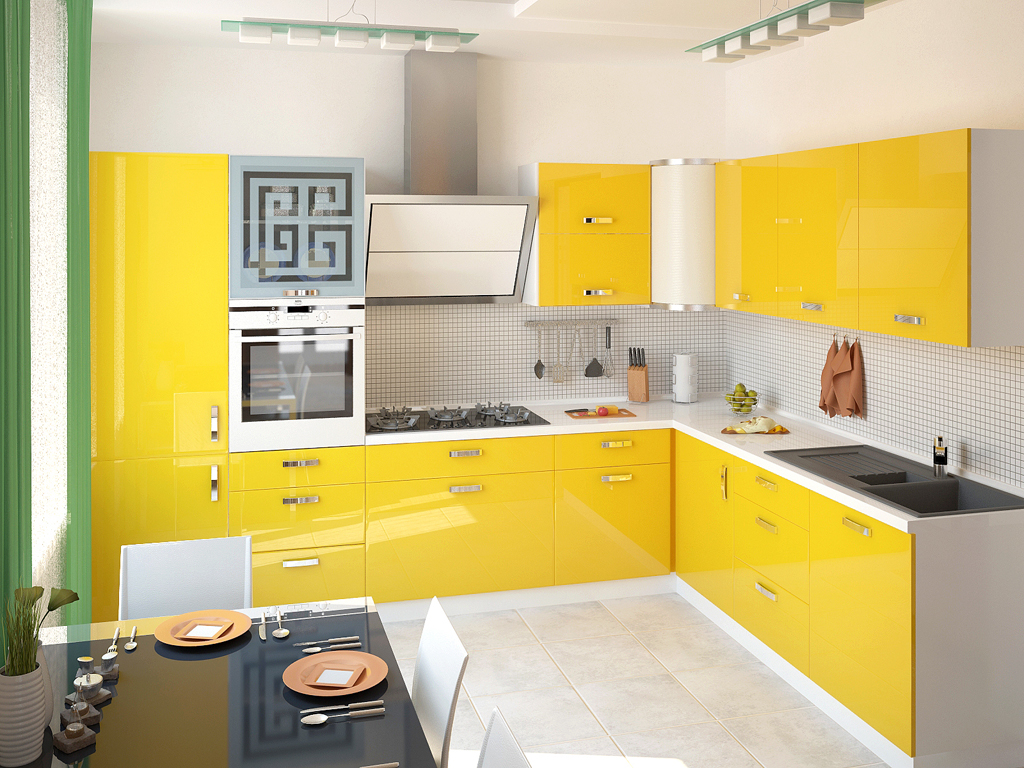 Угловая бело-желтая кухня
