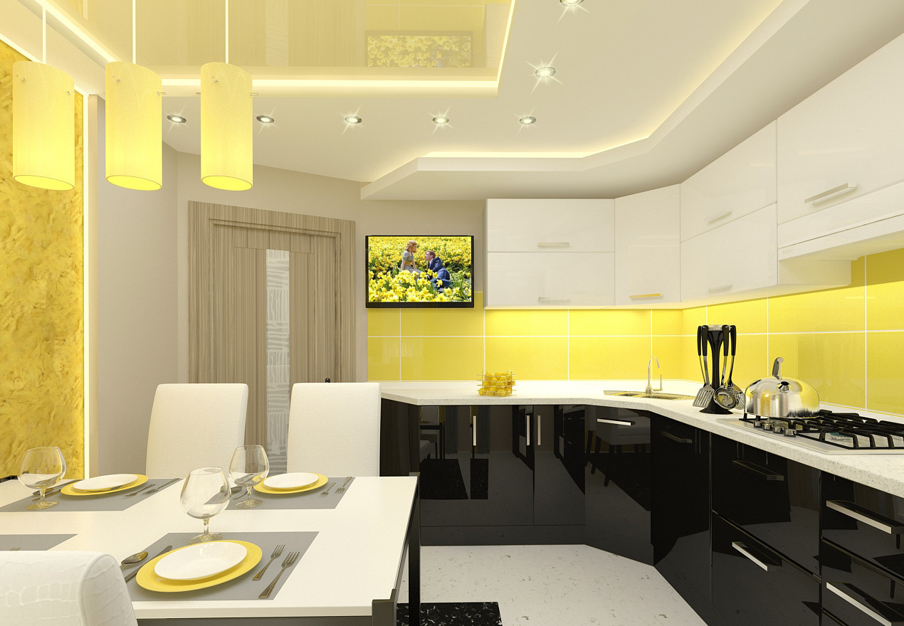 Угловая кухня с желтым фартуком