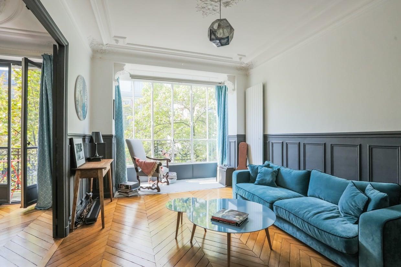 Голубая гостиная в квартире