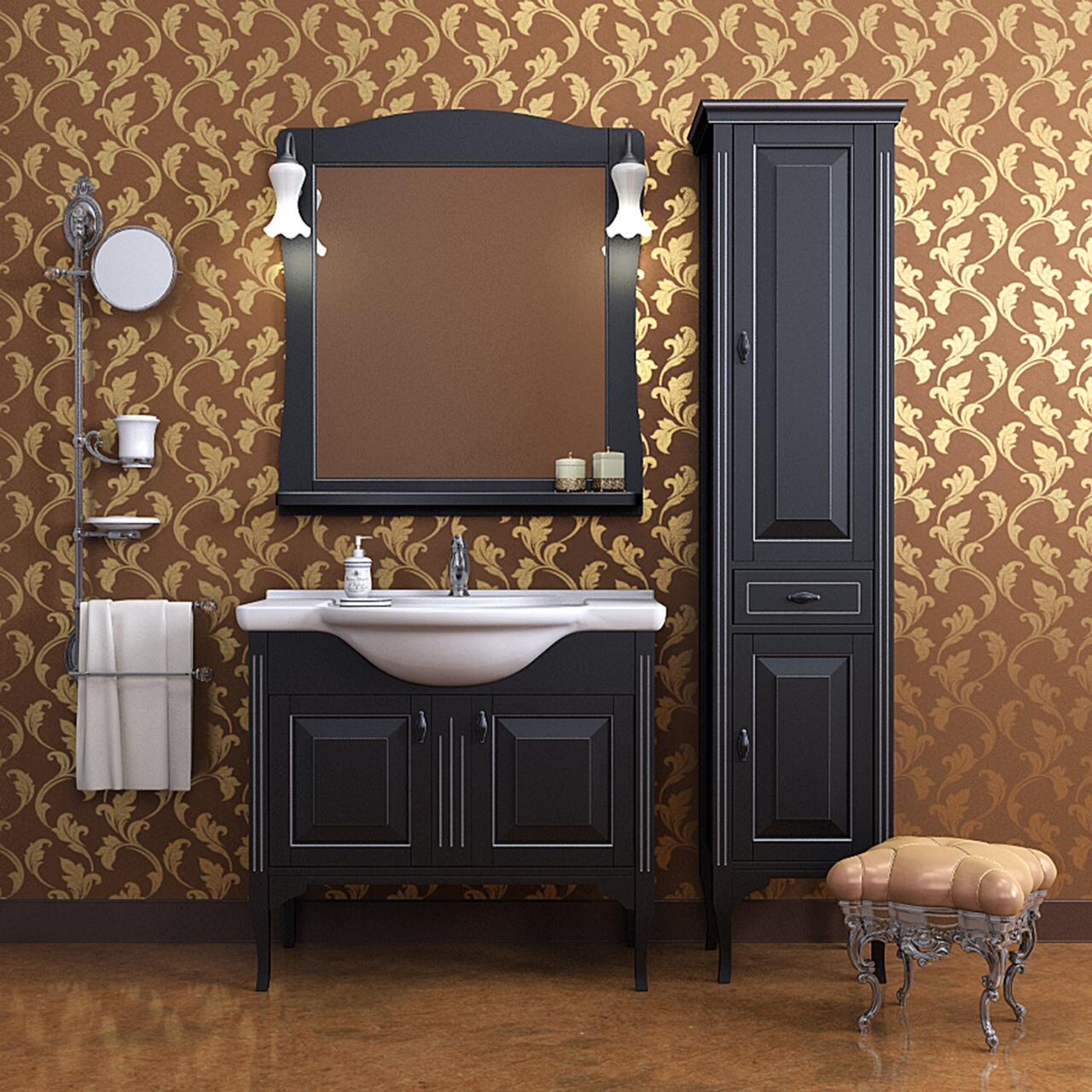 Черная тумба и шкафчик для ванной комнаты