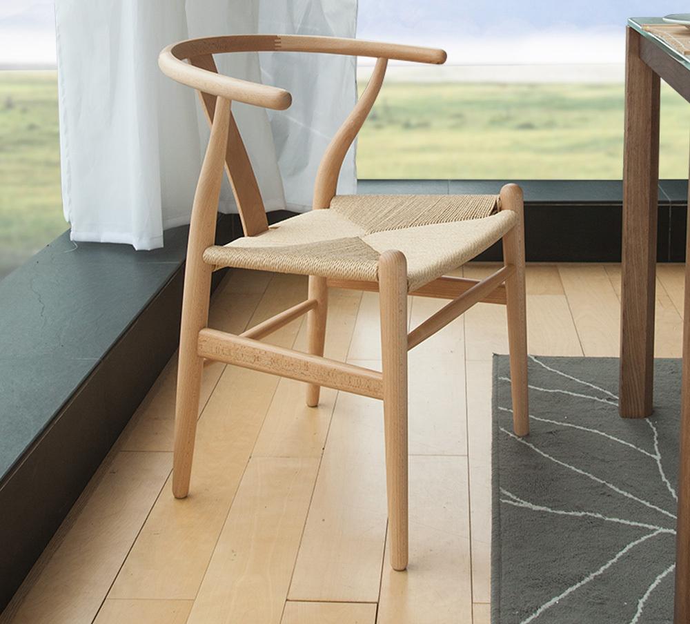 Изящный стул из бука с плетеным сиденьем