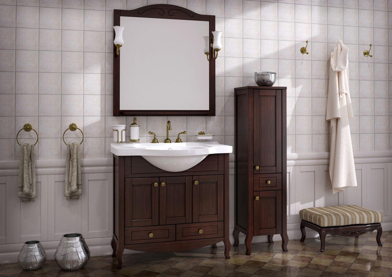 Коричневая тумба и шкафчик из бука в ванную