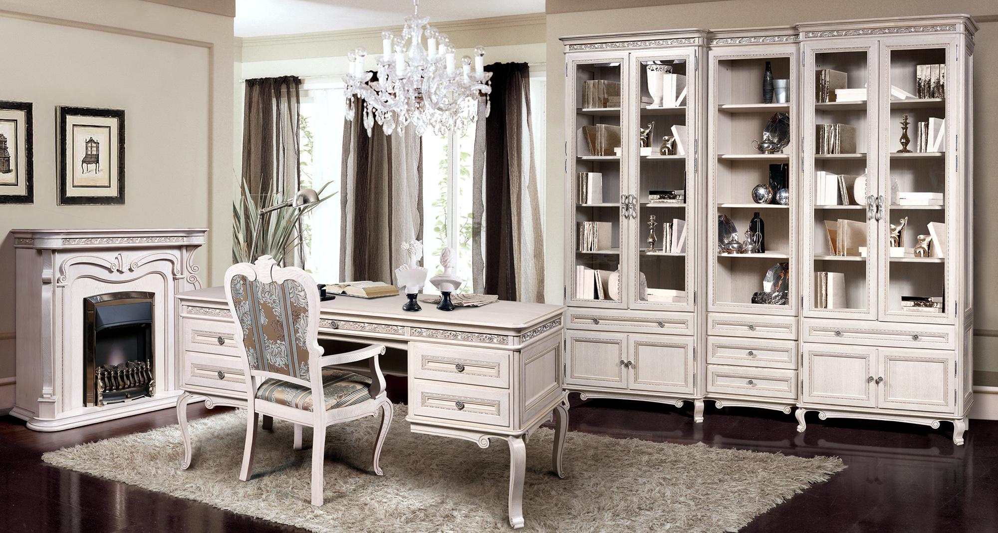 Белая классическая мебель из бука для кабинета