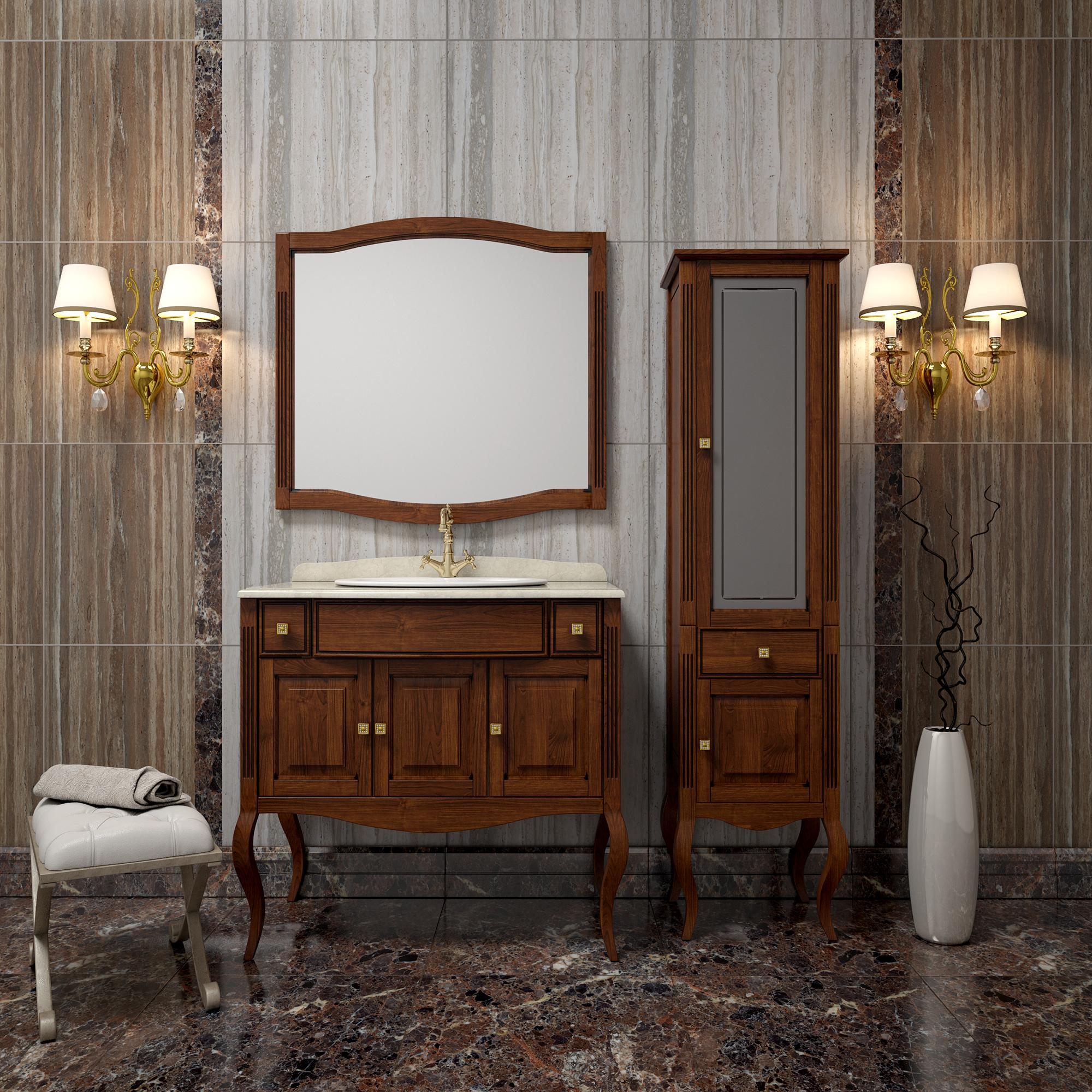 Коричневая мебель из бука для ванной