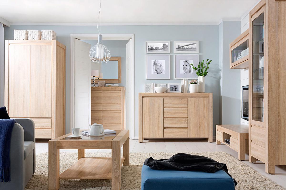 Комплект мебели из светлого дуба в интерьере квартиры