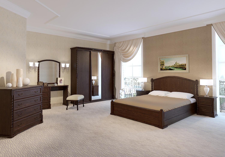 Темная мебель из дуба в спальне