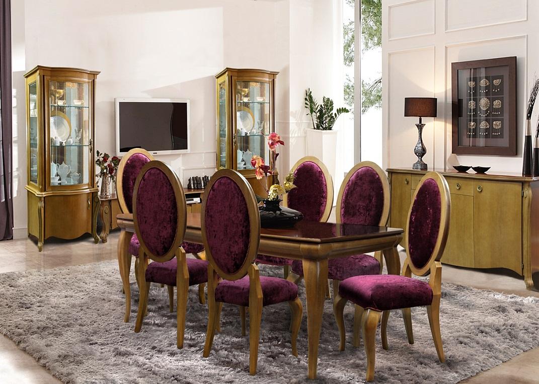 Коричнево-розовая мебель для столовой из дуба