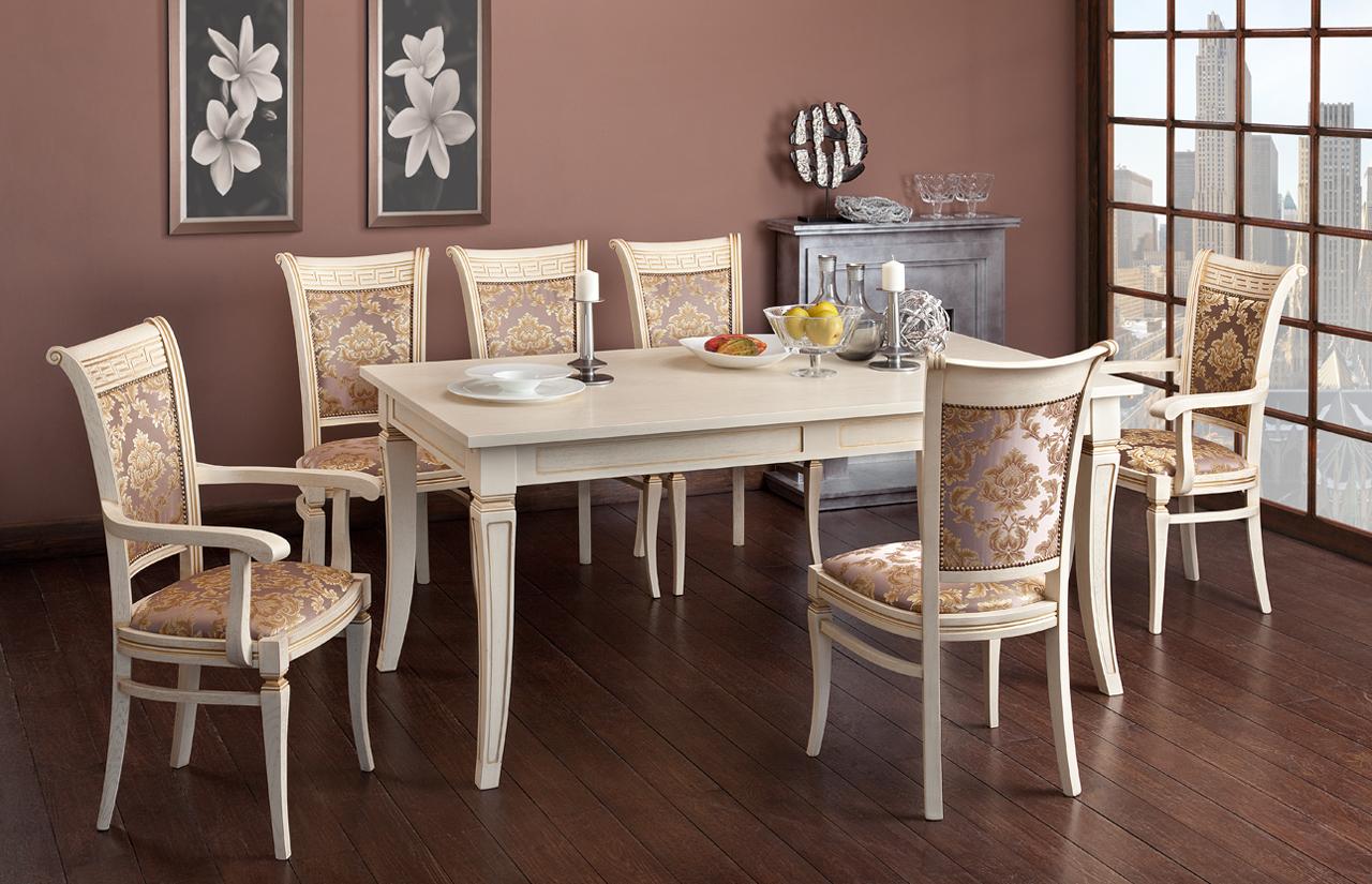 Бежево-золотистая классическая мебель для столовой из дуба