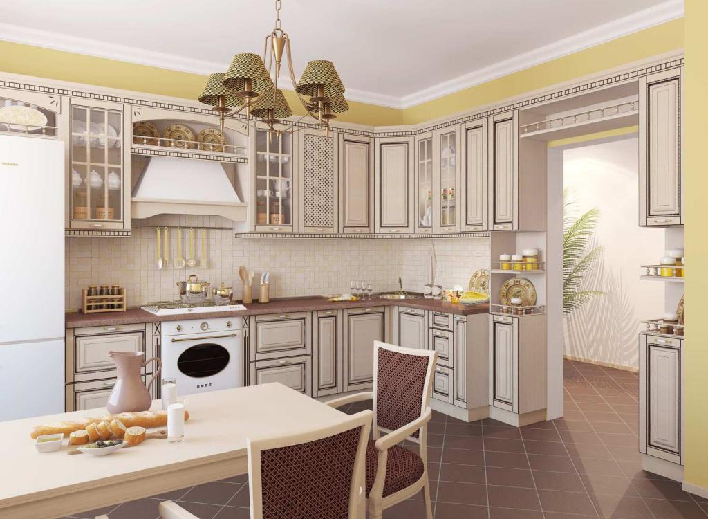 Бежево-коричневая мебель из дуба на кухне