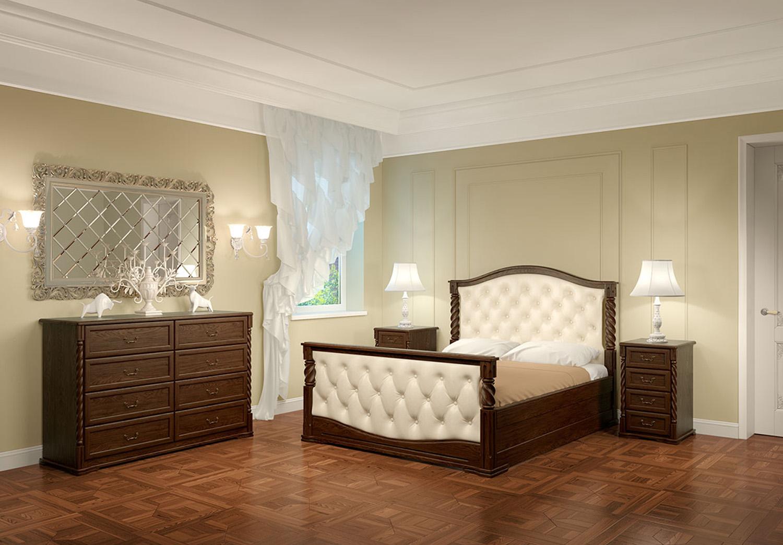 Бежево-коричневая мебель из дуба в спальне