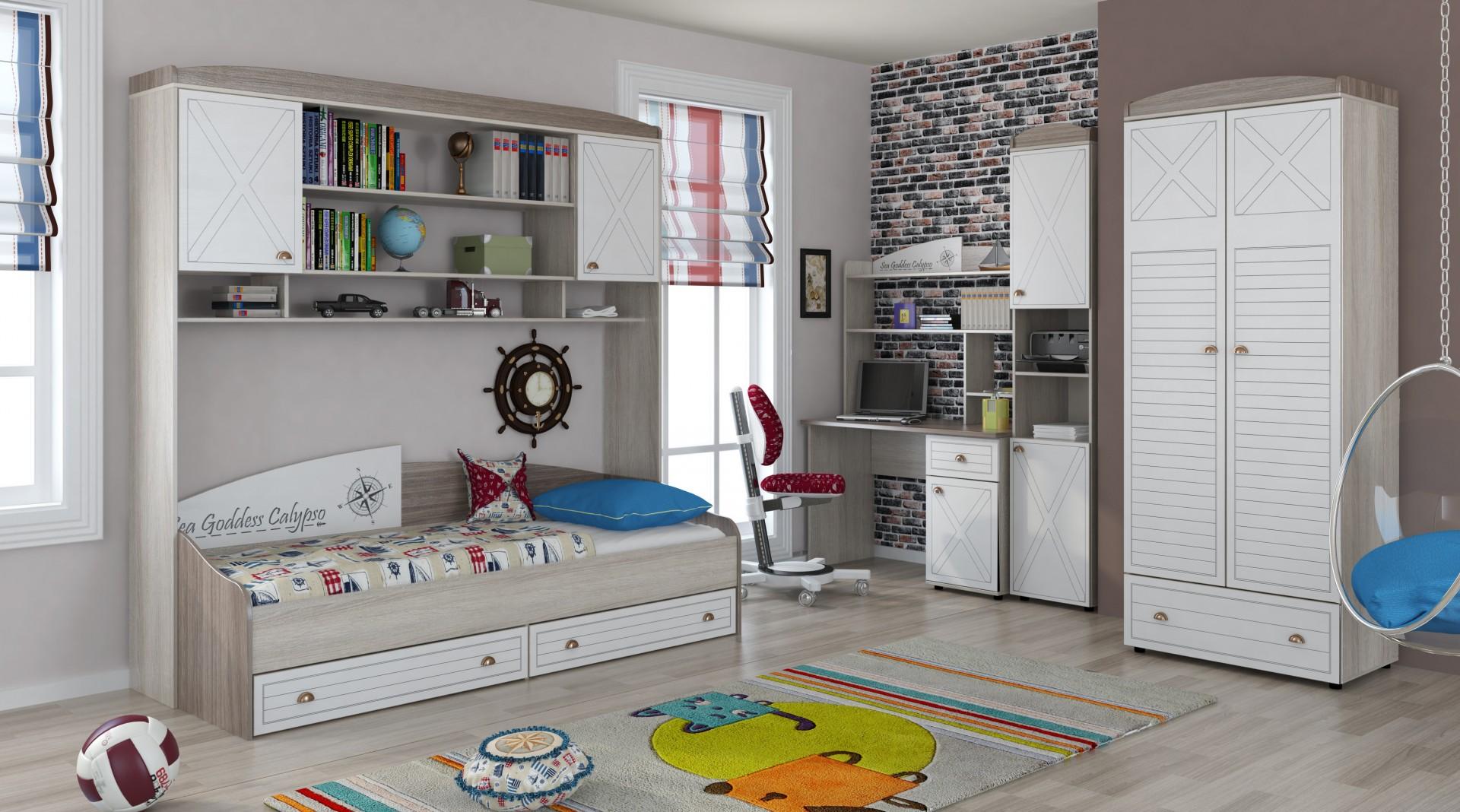 Бело-серая мебель из дуба в детской