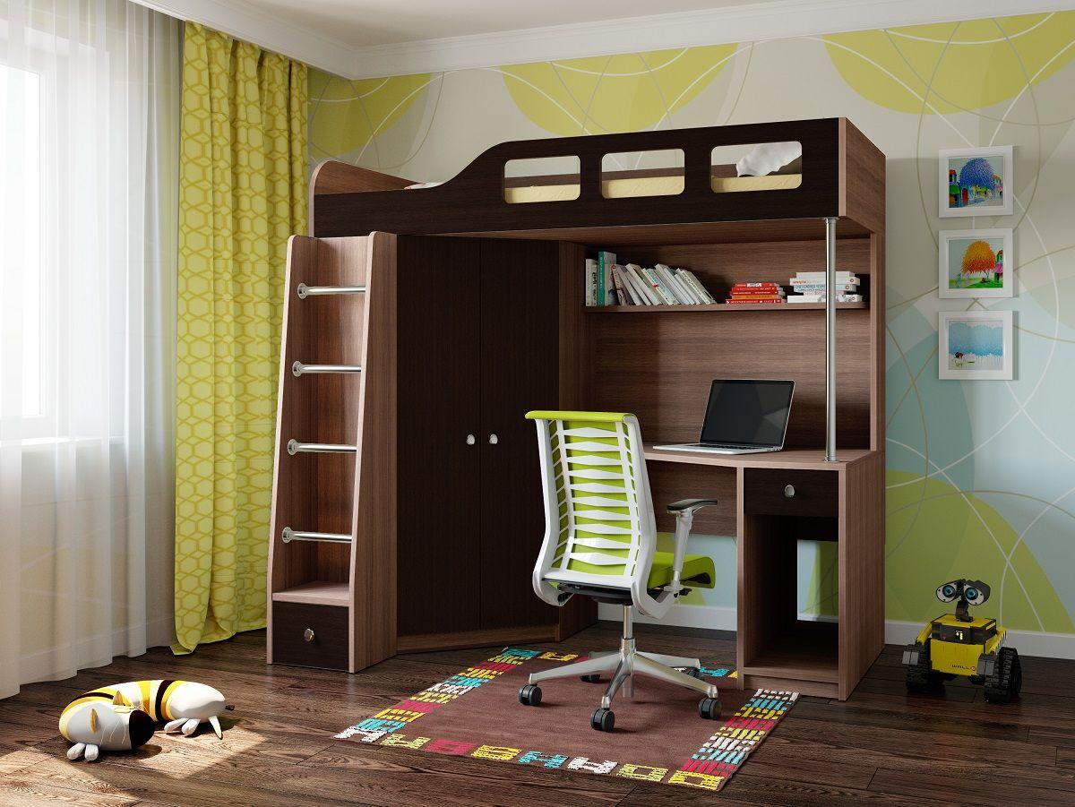 Коричневая детская дубовая мебель