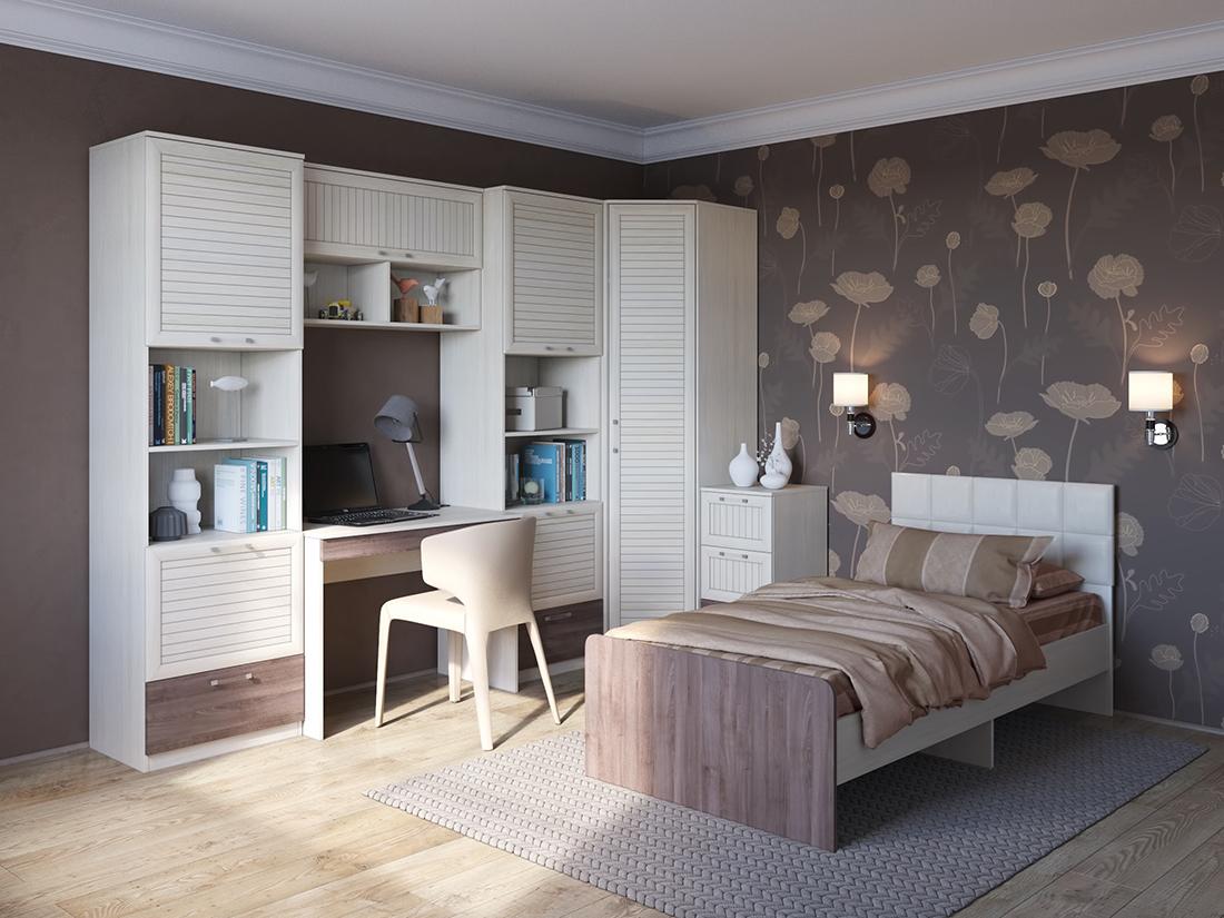 Бело-коричневая мебель из дуба в детской
